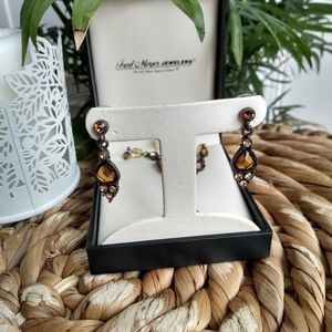 1928 necklace and earring set- brown & yellow